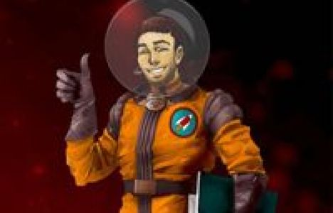 Danny from Rocketmakers cartoon profile as a man in an orange space suit